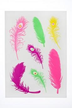 Набор тату-наклеек для тела «Цветные перья»