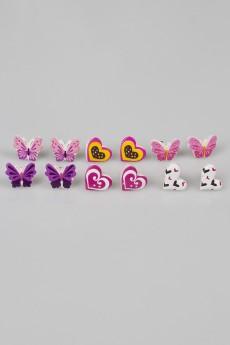 Набор серег детских «Бабочки и сердечки»
