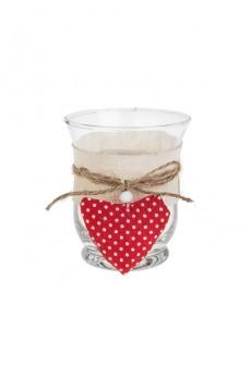Подсвечник для свечи-таблетки «Сердце в горошек»