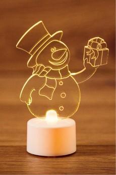 Фигура светодиодная на подставке «Снеговик с подарком»