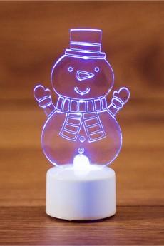 Фигура светодиодная на подставке «Снеговик с шарфом 2D»