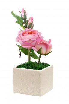 Композиция декоративная (с подсветкой) «Нежные розы»