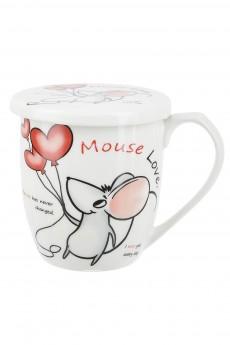 Кружка фарфоровая с крышкой «Mouse love»