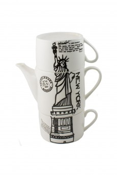 Чайник с двумя кружками фарфор «Нью-Йорк»