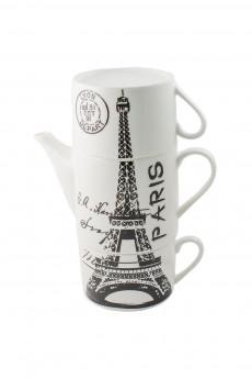Чайник с двумя кружками фарфор «Париж»