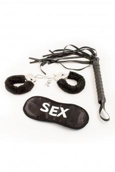 Набор для взрослых «Наручники и плетка черный»