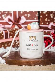 Кружка с ложкой «Котик с рыбкой»