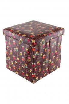 Пуф складной с ящиком для хранения «Совы на ветках на коричневом»