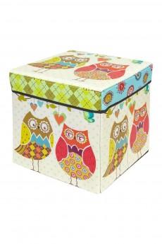 Пуф складной с ящиком для хранения «Забавные совы»