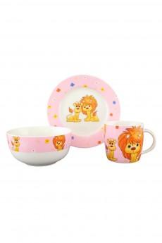 Набор посуды «Львята на розовом»