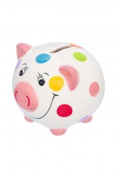 Копилка «Свинюшка белая в горошек розовый пятачок»