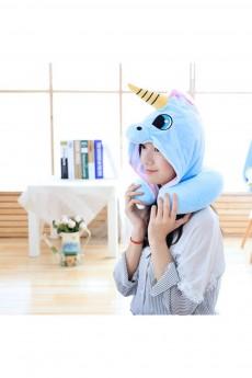 Дорожная подушка с капюшоном «Голубой единорог»