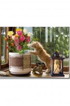 Картина с LED подсветкой «Кот с цветами»