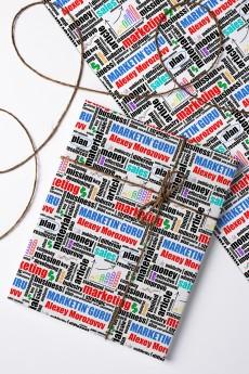 Бумага упаковочная с вашим текстом «Подарок маркетологу»