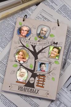 Блокнот с деревянной обложкой с Вашим текстом и фото «Family notes»