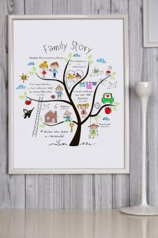 Постер в раме с Вашим текстом «Family Story»
