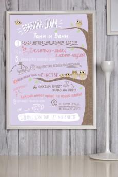 Постер в рамке с Вашим текстом «Правила дома»