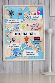 Постер в раме с Вашим текстом и фото «Путешествие»