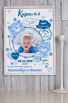 Постер в раме с Вашим текстом и фото «Наш малыш»