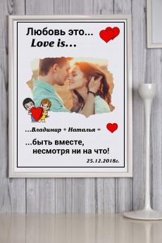 Постер в раме с Вашим текстом и фото «Любовь это…»