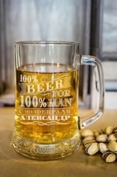 Пивная кружка с вашим текстом «100% man»