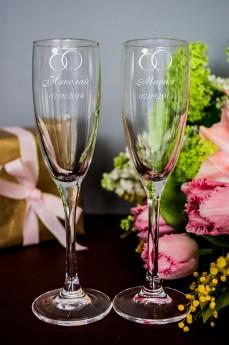 Набор бокалов для шампанского с вашим текстом «Кольца»