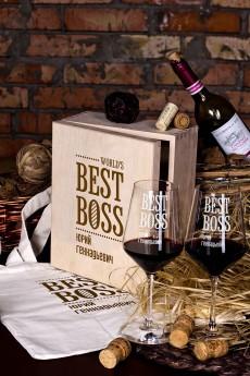 Набор бокалов подарочный с именной гравировкой «Best Boss»