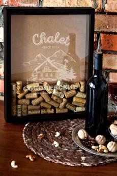 Рамка-копилка для пробок с Вашим текстом «Chalet»