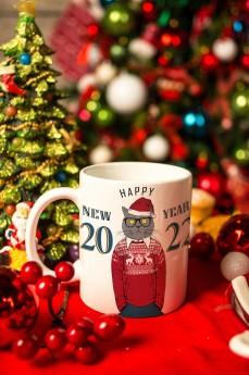 Кружка новогодняя с вашим текстом «Новогодние хипстеры»