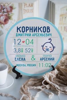Тарелка декоративная с вашим текстом «Первая визитная карточка»