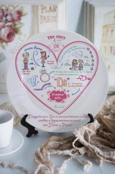 Тарелка декоративная с вашим текстом «История одной любви»