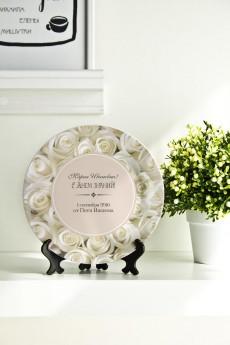Тарелка декоративная с вашим текстом «Flowers»