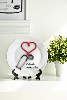 Тарелка декоративная с вашим текстом «Стетоскоп»
