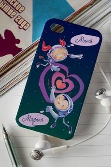 Чехол для iphone 4/4S с вашим текстом «Космонавты»
