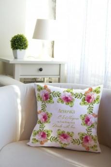 Подушка декоративная с Вашим именем «Букет»