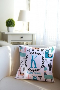 Подушка декоративная с Вашим именем «Лама»