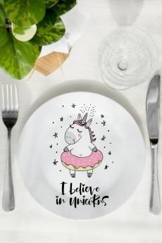 Тарелка декоративная «I believe in unicorns»