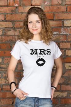 Футболка женская с вашим текстом «Mr & Mrs Smith»