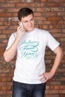 Футболка мужская с вашим текстом «Forever young»