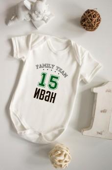 Боди для малыша с вашим текстом «Family team»