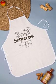 Фартук кухонный с нанесением текста «Bake someone happy»