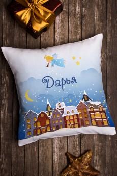 Подушка декоративная в именной вышивкой «Рождество»