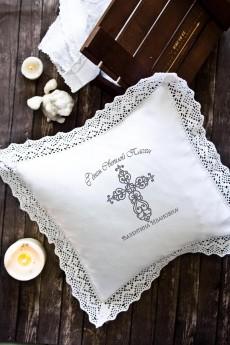 Наволочка декоративная с именной вышивкой «Ажурный крест»