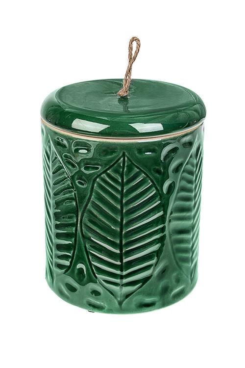 Емкость для сыпучих продуктов Фактурный листПосуда<br>Выс=15.5см, керам., зеленая<br>