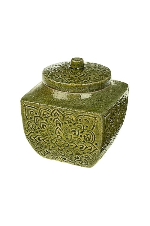 Емкость для сыпучих продуктов Цветочный орнаментПосуда<br>Выс=15.5см, керам., зеленая<br>