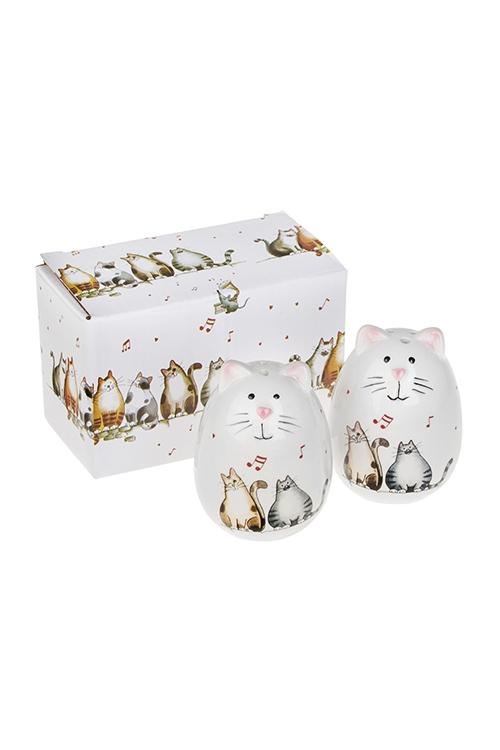 Набор для специй Милые котикиНаборы для специй<br>2-предм., Выс=7см, керам. (солонка, перечница)<br>