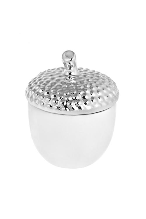 Емкость для сыпучих продуктов ЖелудьПосуда<br>10*11см, керам., бело-серебр.<br>
