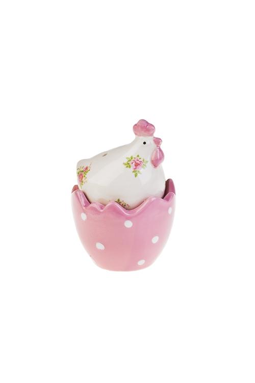Набор для специй Расписная курочкаПосуда<br>Керам., бело-розовый (солонка, перечница)<br>