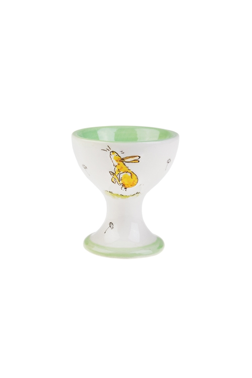 Подставка для яйца Веселый заяцПосуда<br>Выс=6см, керам., бело-зеленая<br>