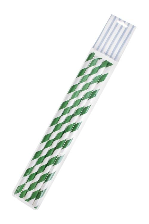 Набор трубочек для напитков ЗавитокПосуда<br>5-предм., бумага, зелено-белый<br>